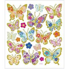 Butterflies Metallic Foil Colourful Glitter Stickers 15cm Embellishments Sheet