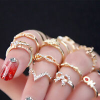 1 Set 7pcs Womens Popular Bowknot Knuckle Midi Mid Finger Tip Stacking Rings