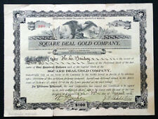 1905 SQUARE DEAL GOLD MINE Mining Stock Certificate KANSAS CITY MISSOURI Company