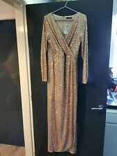 Quiz MAXI Long Sleeve Sequin Rose Gold Dress Size UK 14