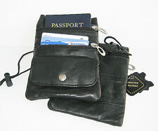 Set of 2 PASSPORT Genuine Leather ID Holder Neck Pouch Wallets Travel String Bag