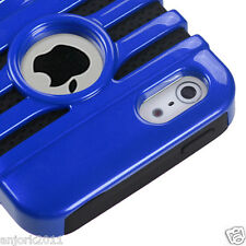 Apple iPhone 5 Mic Dual Layer Hybrid Case Skin Cover Accessory Blue Black
