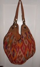 LUCKY BRAND Large Canvas Suede Multi-colored Sling Slouc Shoulder Hobo Purse Bag