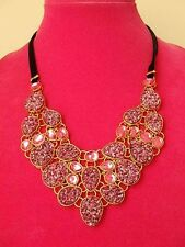 JOAN RIVERS SIMULATED PINK DRUSY BIB NECKLACE NEW