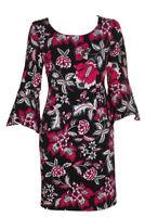 Dress Size Medium Inc NWT $99 Black Pink Fuchsia Bell-Sleeve Floral Sheath ZA35