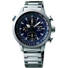 SEIKO MEN'S 44MM STEEL BRACELET & CASE QUARTZ BLUE DIAL ANALOG WATCH SSC347P1