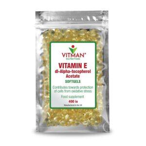 Pure Vitamin E Softgels 400iu High Strength  Natural Softgels UK Made - VitMan