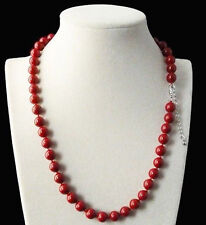 AA 8mm Genuine Coral Red Round South Sea Shell Pearl Beads Necklace 18""