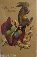 """"""" FETES DE PAQUES,lapin,Sac à main,oeufs Pâques """" 1910,carte postale en relief,"""