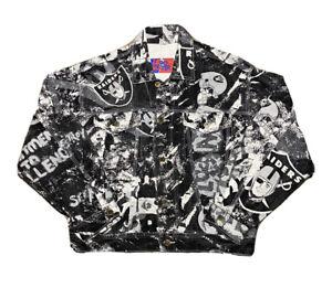 VTG 1990s Pro Player NFL Oakland Raiders All Over Print Denim Jacket Size Medium