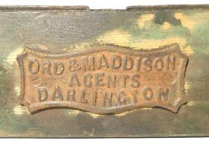 "Antique Ord & Maddison Agents Darlington Cast Iron Foundry Plaque Badge 7x3"""