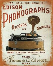 "10"" x 8"" EDISON PHONOGRAPHS GRAMOPHONE RECORD PLAYER METAL PLAQUE TIN SIGN N477"