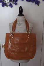 B.Makowsky Leather Med.Shopper Handbag in Camel color w/gold color accents, USED