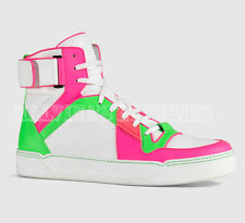 $865 GUCCI MENS SNEAKERS NEON LEATHER HIGH TOP BASKETBALL LOGO 10.5G 11.5 45