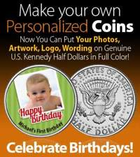 Happy Birthday Gift PERSONALIZED COIN JFK Half Dollar US Party Bag Filler Favor