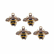 6pcs Gold Color Crystal Alloy Jewelry Enamel Bees Pendants Charms Crafts 53281