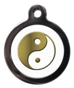 Pet ID tag YIN YANG Symbol Gold & White Personalised Tag or Keyring 2 sizes