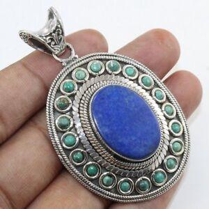 Natural Lapis Lazuli Gemstone 925 Sterling Silver Pendant Jewelry