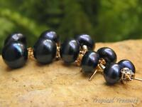 BLACK Pearl Earring Studs - 18k Gold Plated 925 SOLID Silver