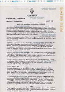 RENAULT KANGOO TREKKA  PRESS RELEASE 2002   ***POST FREE UK ***