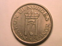 1956 NORWAY 50 Ore Choice XF+/AU very Lustrous Fifty Ore Norwegian Norge Coin