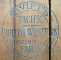 SWIFT'S PACIFIC NORTH WESTERN WHITE HENNERY EGGS Old Sign Farm Crate Box Panel