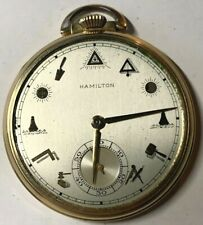 Hamilton 917 Movement Pocket Watch 14kt Gold Filled Masonic Dial 3 Position Runs