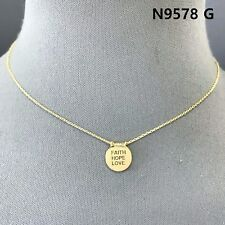 Simple Gold Finished FAITH HOPE LOVE Engraved Mini Circle Shape Pendant Necklace