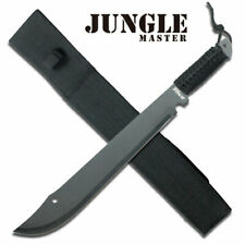 "21"" JUNGLE MASTER BLACK MATTE MACHETE W/BLACK THICK CORD WRAPPED HANDLE + SHEATH"