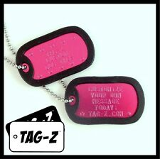 2 Military Dog Tags - Custom Embossed Hot Pink Tags with Silencers & Chains