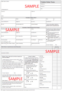 Legally Compliant - Used Car / Vehicle Order Form / Deposit Pad - taking deposit