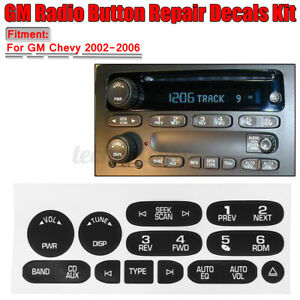 GM Radio Button Replacement Repair Decal Sticker Kit Dash For 2002-2006 GM
