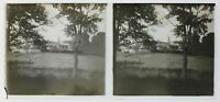 Francia Village Chiesa Foto Stereo P50L3n4 Placca Da Lente Vintage c1930