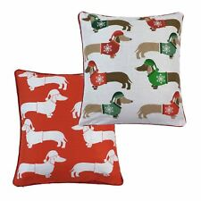 """Christmas Dachshunds Sausage Dogs Hats Jumpers Red 17"""" - 43cm Cushion Cover"""