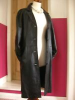 Ladies black ELVI long super soft leather TRENCH COAT UK 18 16 goth steampunk