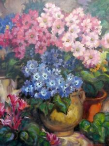 OIL SUMMER FLOWERS LISTED RA ARTIST WALDON WEST 1960,S  FREE SHIPPING TO ENGLAND