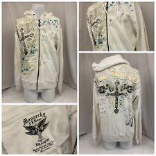 Monarchy Hoodie Sweatshirt XXL White Full Zip 100% Cotton NWT YGI R9-270CG
