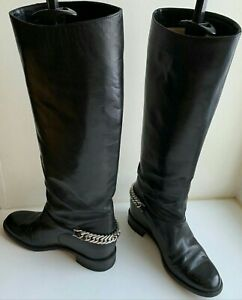Christian Louboutin Cate 36 (US6) Metal Chain Black Riding Boots Authentic $1400