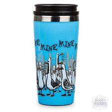 "Disney Parks Travel Mug Finding Nemo ""Mine Mine Mine"" Blue Tumbler Seagulls"