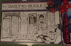 NEW Spider-Man Coloring Placemats 24 Count Party Supplies - 2 Unique Designs