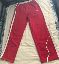 SPEEDO MENS ATHLETIC PANTS POLYESTER SIZE M RED W WHITE SIDE STRIPES SC8