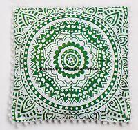 Indien Ombre Mandala Coton Oreiller Canapé Décor Pom Lacet Coussin Housse 40.6cm