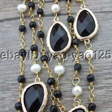 "H022302 45"" Round Pearl Black Agate Crystal Necklace"