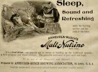 1896 St Louis Anheuser Busch Malt Nutrine Medicine Quackery Vintage Print Ad