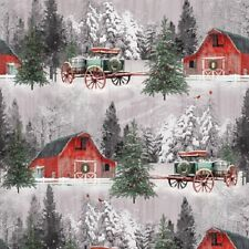 Holiday Wishes by Henry Glass-BTY-Horse Drawn Wagon-Red Barn-Field-Snow
