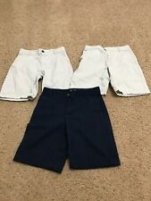 Lot of (3) Old Navy Boys Adjustable Uniform Shorts - Khacki + Blue - Size 10