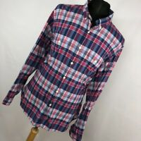 J Crew XL Shirt Red Blue Plaid Checkered Button Down Front Mens Long Sleeve E2