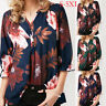 Women Ladies Chiffon V Neck Floral Print 3/4 Sleeve Blouse Pullover Tops T-Shirt