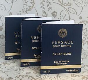 Lot of 3 Versace DYLAN BLUE pour femme EDP Eau de Parfum 1ml / 0.03 oz each