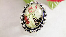 Women's Ring Size 8.5--8.75  Butterflies Roses Sterling Silver 925 Dichroic Glas